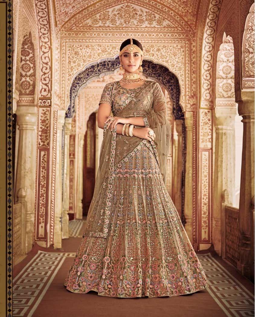 76d82d79ea3 Beige Heavy Embroidered Wedding Lehenga. February 2019. Gratifying beige designer  lehenga choli ...