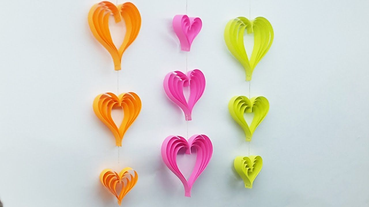 Diy Room Decoration Ideas With Paper Heart Wall Hanging Craft