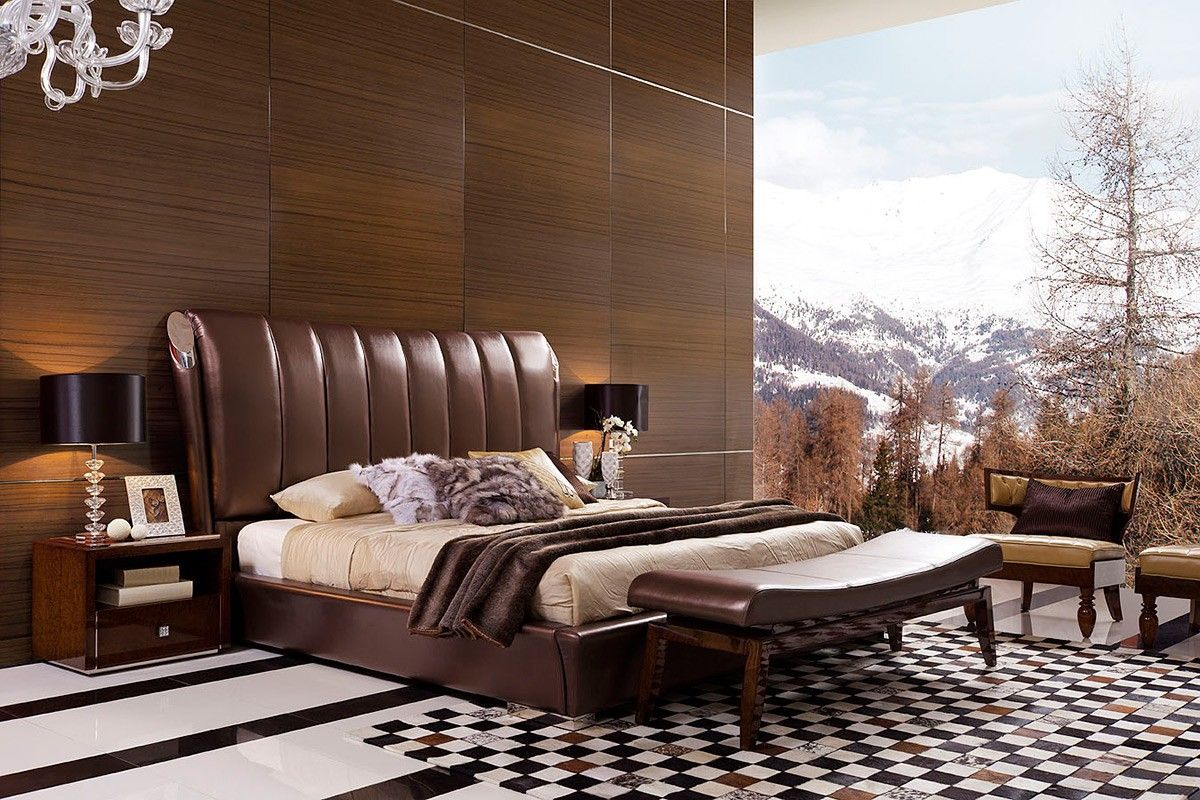 Italian Leather Bedroom Furniture In Brown    Features: Transitional Style  Platform Bed.