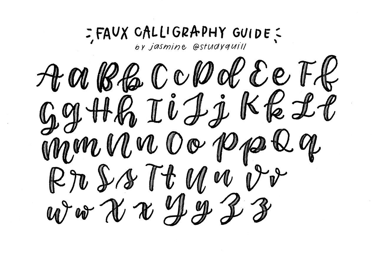 Pin By Rachael Hansen On Creative Lettering Fake Calligraphy Alphabet Faux Calligraphy Calligraphy Alphabet
