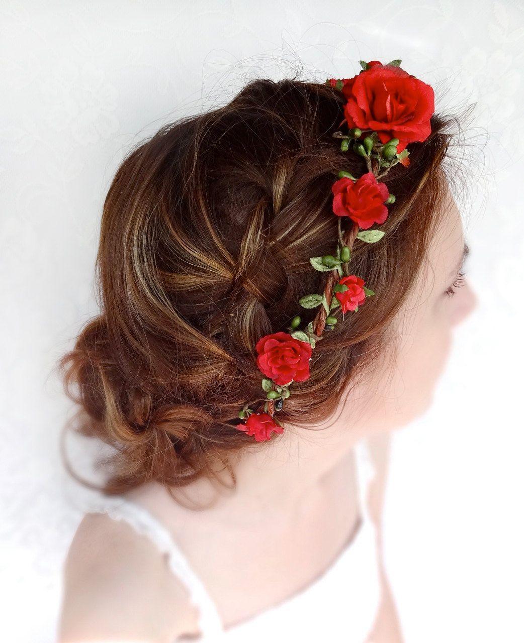 red flower hair circlet, red flower headband, bridal hair