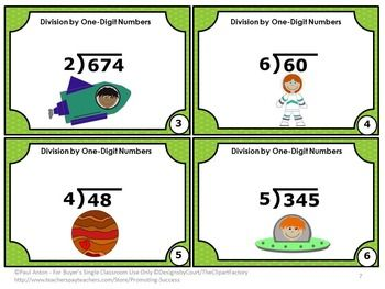 Division FREE: Dividing by One-Digit Number Task Cards: Here are a set of six printable division games math task cards for Grade 4 and 5. Students will practice division with a one-digit divisor and 2-3 digit dividends. A student response division form and answer key are also provided.  Task cards are a great alternative to worksheets. Common Core Math