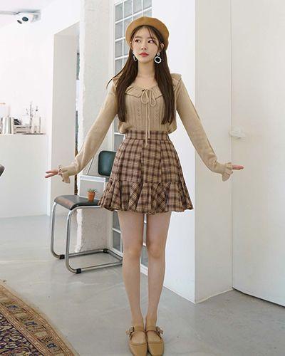 Photo of High Rise Frilled Hem Check Skirt