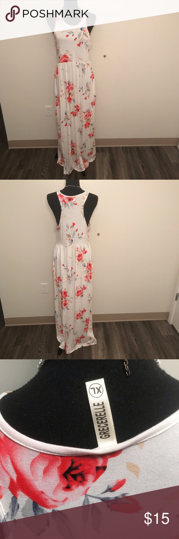 White With Pink Floral Stretchy Maxi Dress Pink Floral Maxi Dress Stretchy [ 1740 x 580 Pixel ]