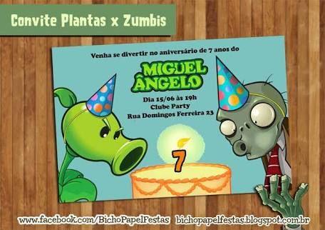 resultado de imagem para convite plantas vs zumbis zombies