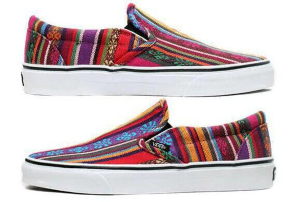 31dee8b356 shoes aztec vans print colorful slip on slip on shoes slip ons cool girly  adorable colors color stripes pattern aztec shoes hipster hippie boho