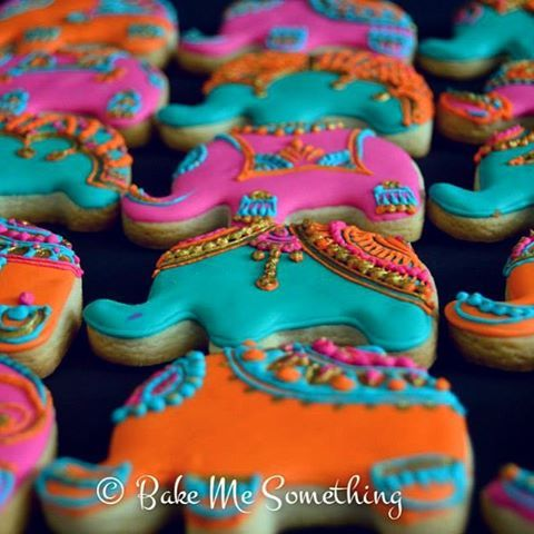 Pink and Gold Herd of Elephants Henna Cookies