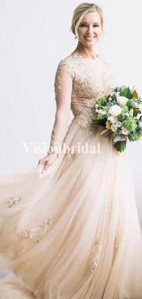 Alluring Bateau Neckline Long Sleeve Beading Tulle Wedding Dresses, VB02918 Alluring Bateau Neckline Long Sleeve Beading Tulle Wedding Dresses, VB02918