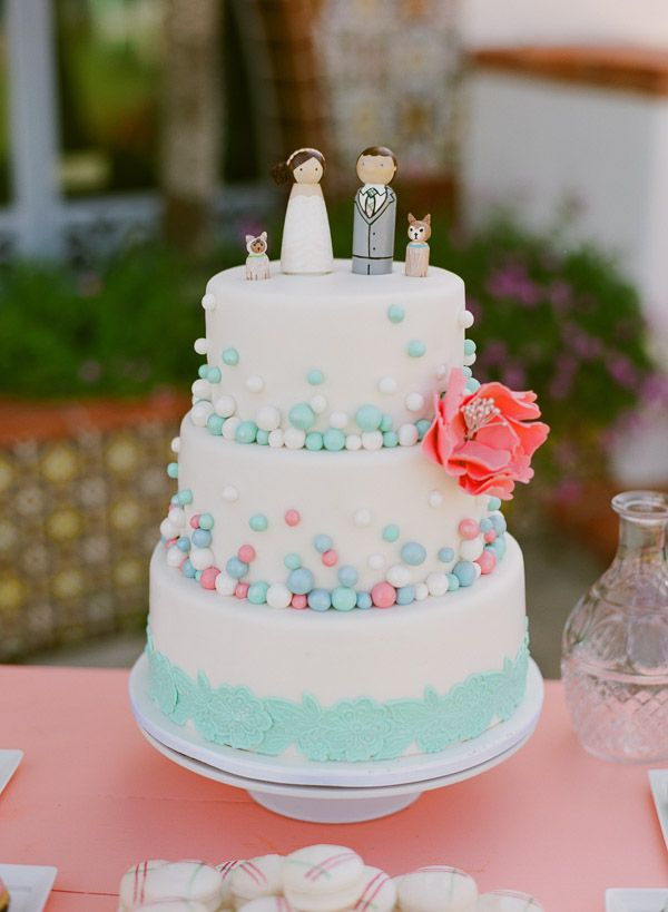 Whimsical coral and mint cake. Cupcakes Couture of Manhattan Beach Creamery.
