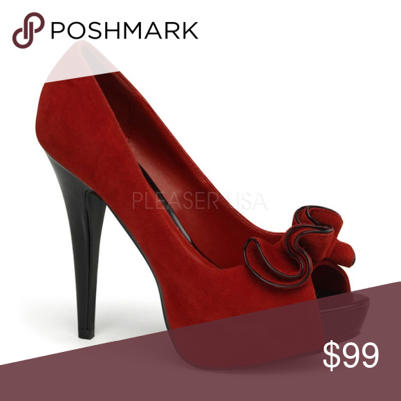 32bac49f729a4 Pin Up Peep Toe Shoes High Heels Suede Stilettos | Color: Black/Red ...