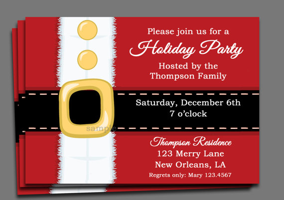 Christmas Party Invitation Printable Or Printed With FREE SHIPPING - Party invitation template: office christmas party invite template
