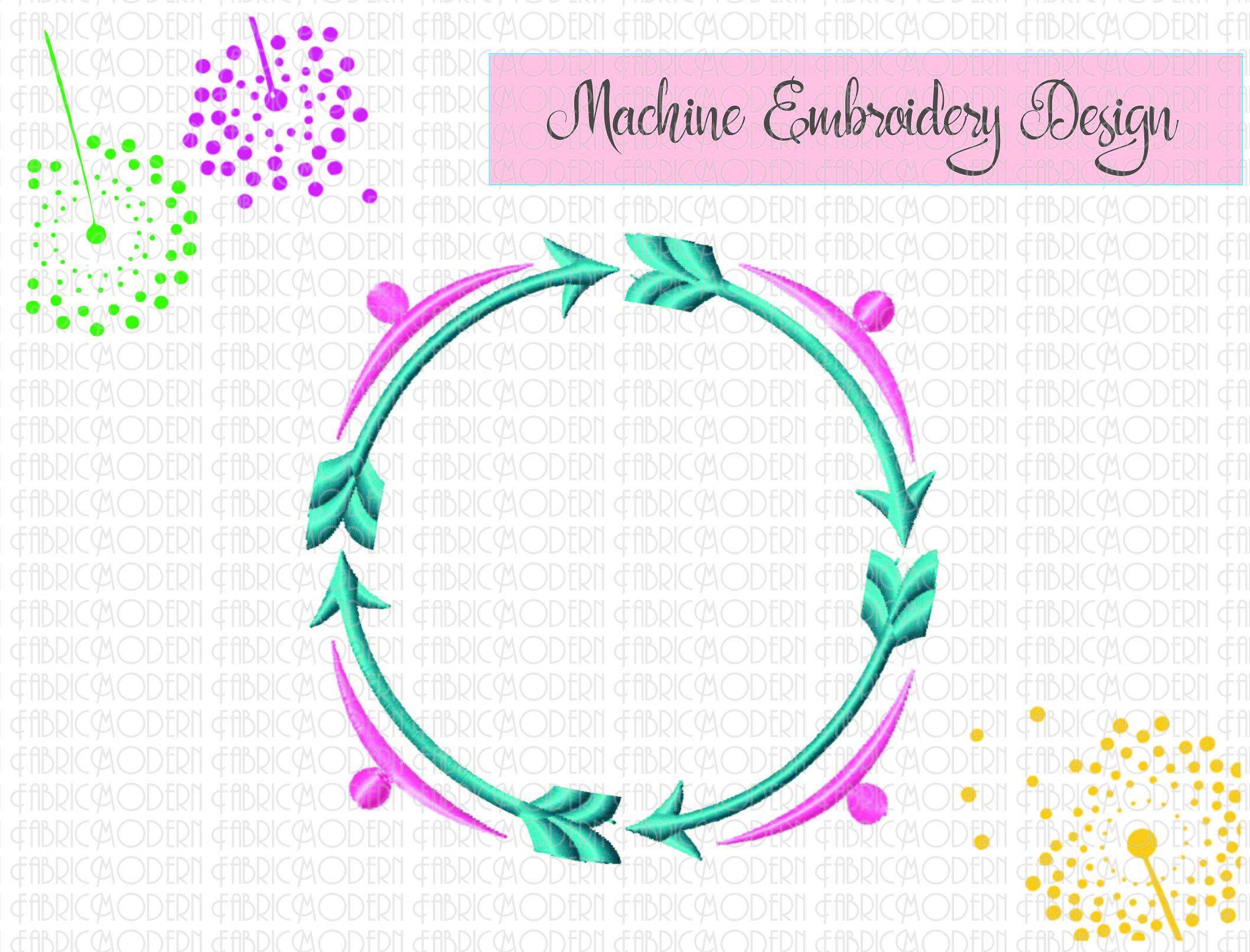 Four arrows round monogram frame embroidery design round monogram