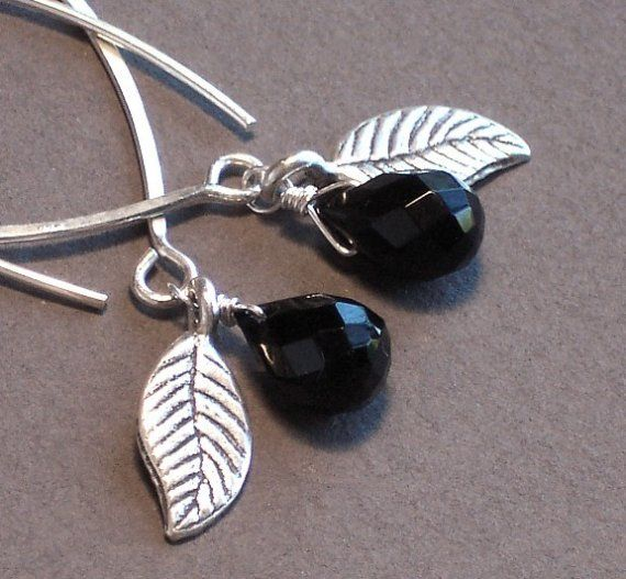 Black Onyx Earrings With Silver Leaves  Let's Go by ZionShore