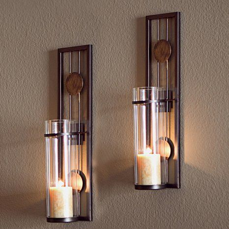 Merveilleux Set Of 2 Contemporary Metal Wall Candle Holder Sconces