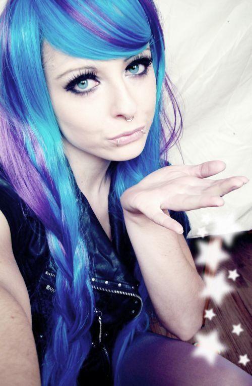 blue purple emo scene hair style