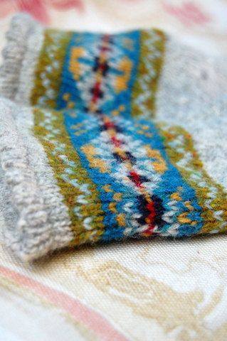 Knit to Order Fair Isle Fingerless Gloves Grey by helengraydesigns ...
