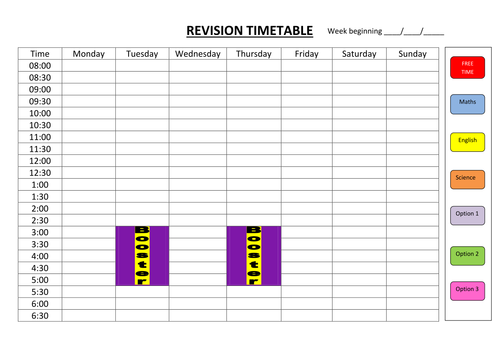 Revision Aids  A Timetable And Some Revision Info Sheets For Key