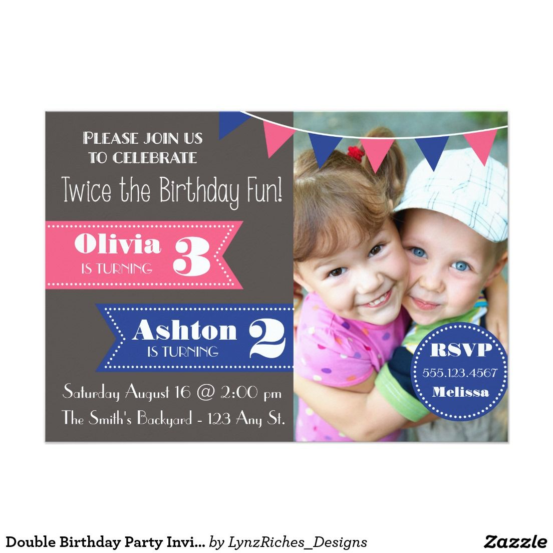 Double Birthday Party Invite Boy Girl