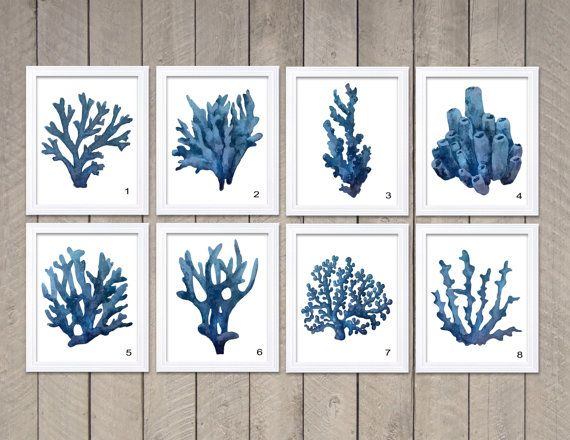 Navy Blue Coral Wall Art Coral Prints Coral Watercolor Wall Decor Mix Match  Bathroom Ocean Nautical Beach House Home Decor Indicate What Print(s)