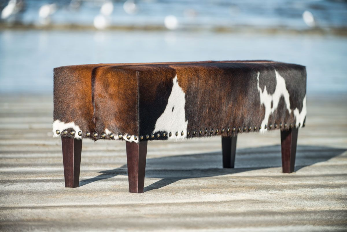 gorgeous brown and white cowhide bench ottoman by gorgeous creatures