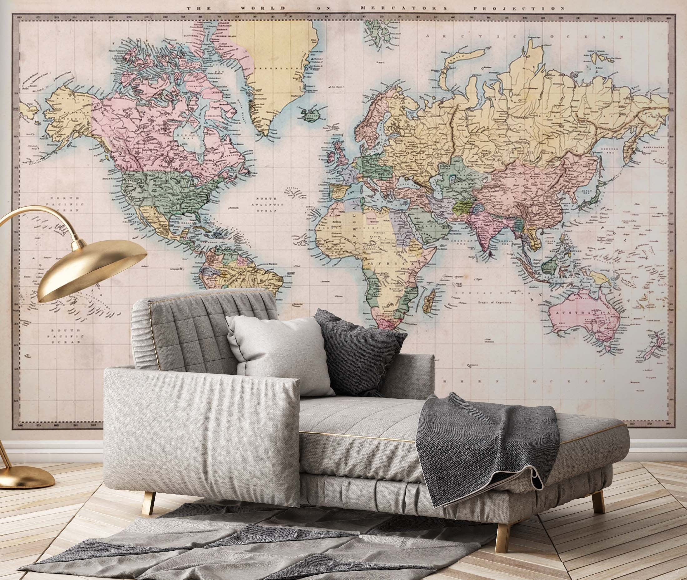 Colorful Old World Map Wallpaper Self Adhesive Peel And Stick Etsy Living Room Murals World Map Wallpaper Map Wallpaper