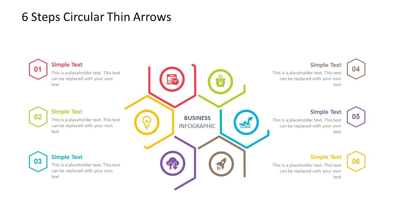 6 steps circular powerpoint template. fully editable instantly, Modern powerpoint