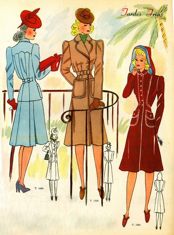 vintage 1940s fashion illustration by deliriummercurials