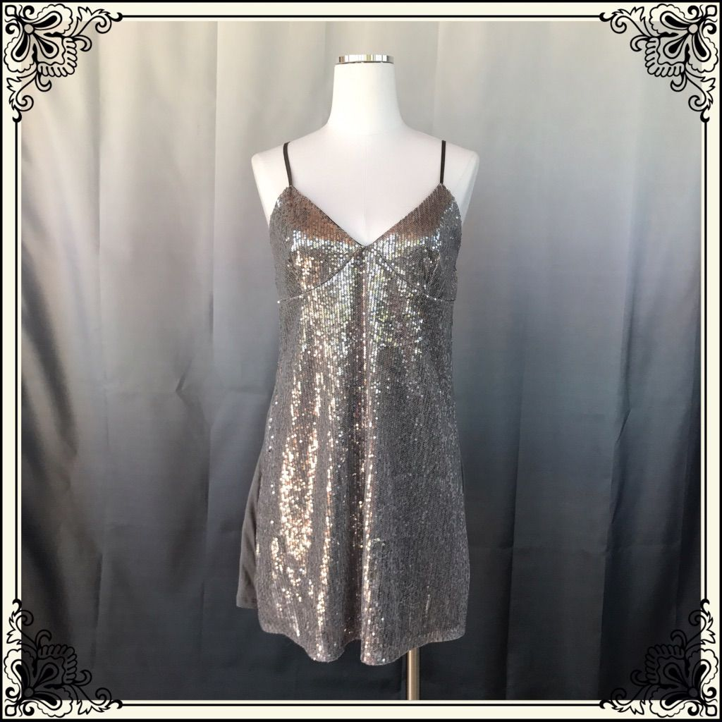 Silence + Noise Silver Sequins Dress #766