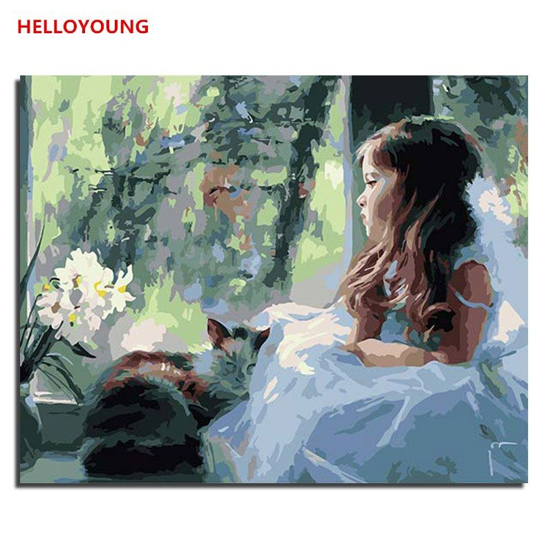 YH369 DIY Handpainted Oil Painting Girl with cat Digital Painting by numbers oil paintings chinese scroll paintings Home Decor
