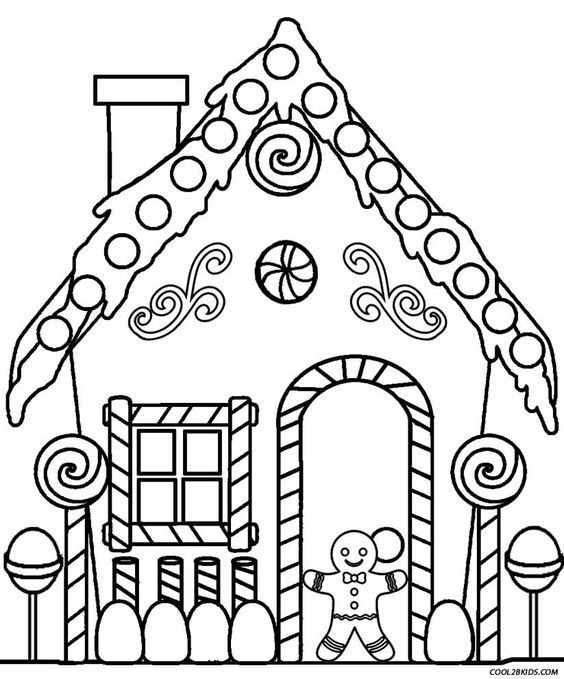 Gingerbread House Coloring Pages Christmas Coloring Pages House