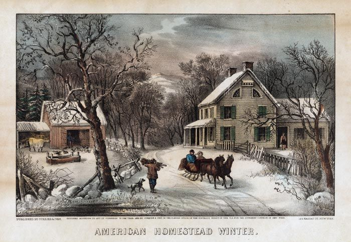 American Homestead Winter By Currier Ives Currier And Ives Prints Currier And Ives Christmas Scenes