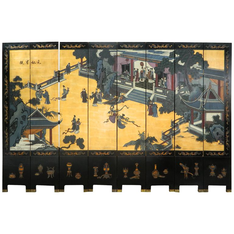 Antique Dual Sided Eight Panel Chinese Black Lacquer on Wood
