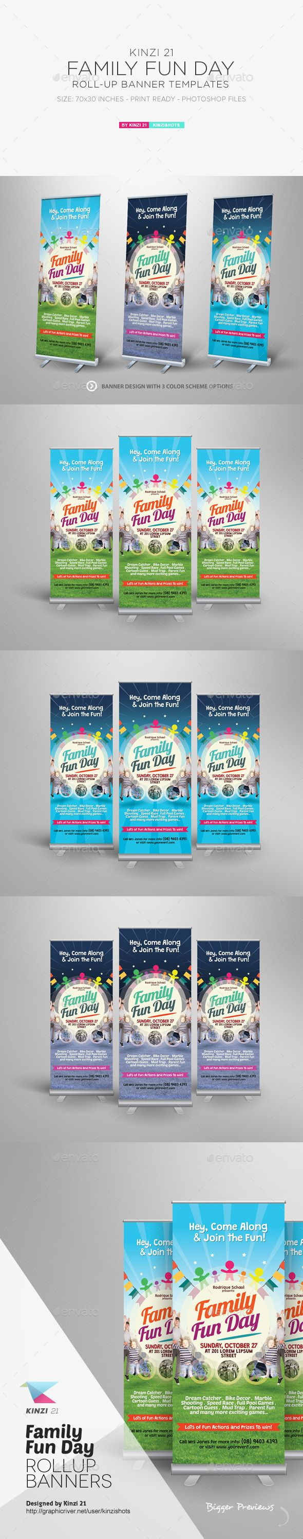 family fun day roll up banners kid flyer template and flyers family fun day roll up banners template design