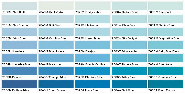 blue paint sample colors chart_3 | diy - tips tricks ideas repair