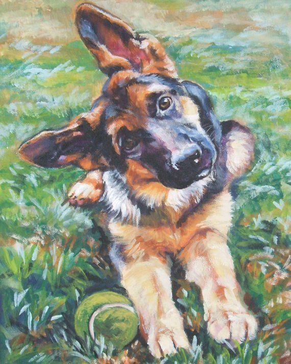 German Shepherd Dog Art Canvas Print Of Lashepard Painting 8x10
