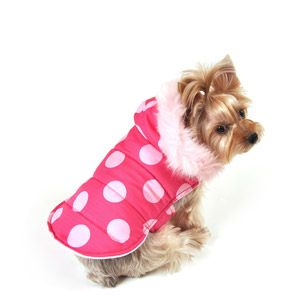 SimplyDog Puffer Dog Jacket, Cotton Candy Pink, Dot Print, Multiple Sizes Available