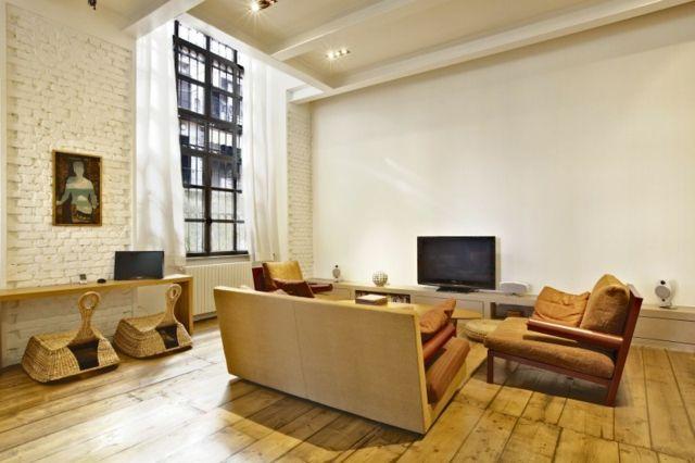 Wohnung Wohnzimmer Ideen Möbel Ziegelwand Weiß