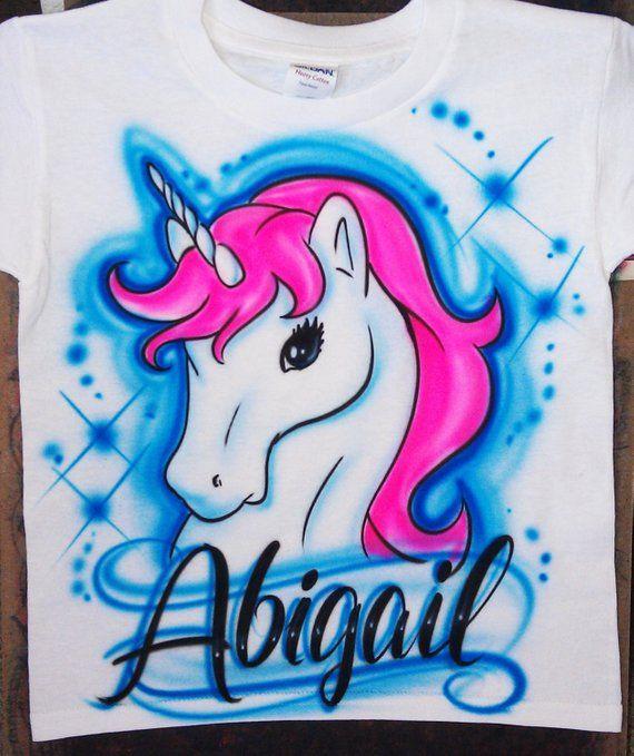 Airbrush T Shirt Personalized Beach Scene Unicorn Baby