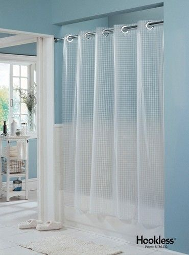 Hookless Shower Curtain Textured Box Partially Transparent White
