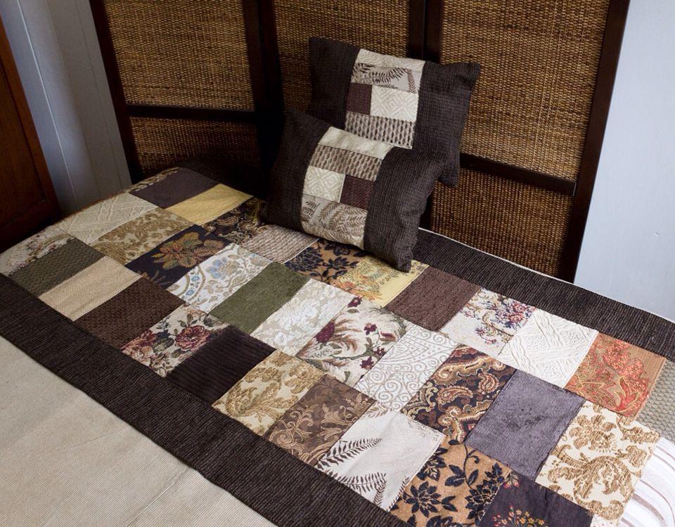 Piesera de patchwork con 2 cojines a la venta | Пэчворк