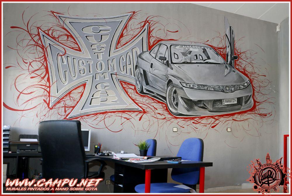 logotipo y coche pintado sobre gota para paredes de oficina