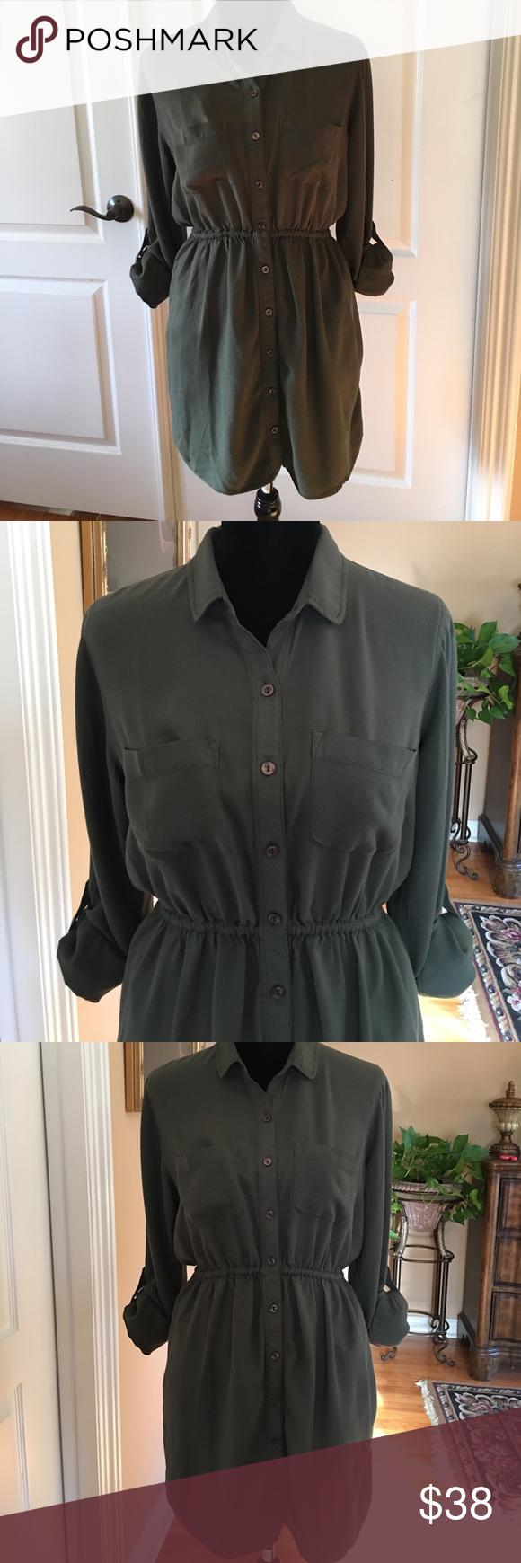 Heels for dark green dress  Urban Outfitters Shirt Dress by BDG