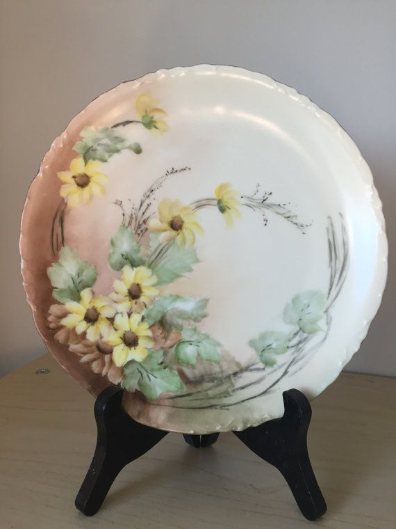 R C Versailles Bavaria Hand Painted Vintage Antique Plate Yellow Daisy Flower Black Eyed Susan Plate Floral Decorative Dish 1900s & R C Versailles Bavaria Hand Painted Vintage Antique Plate Yellow ...