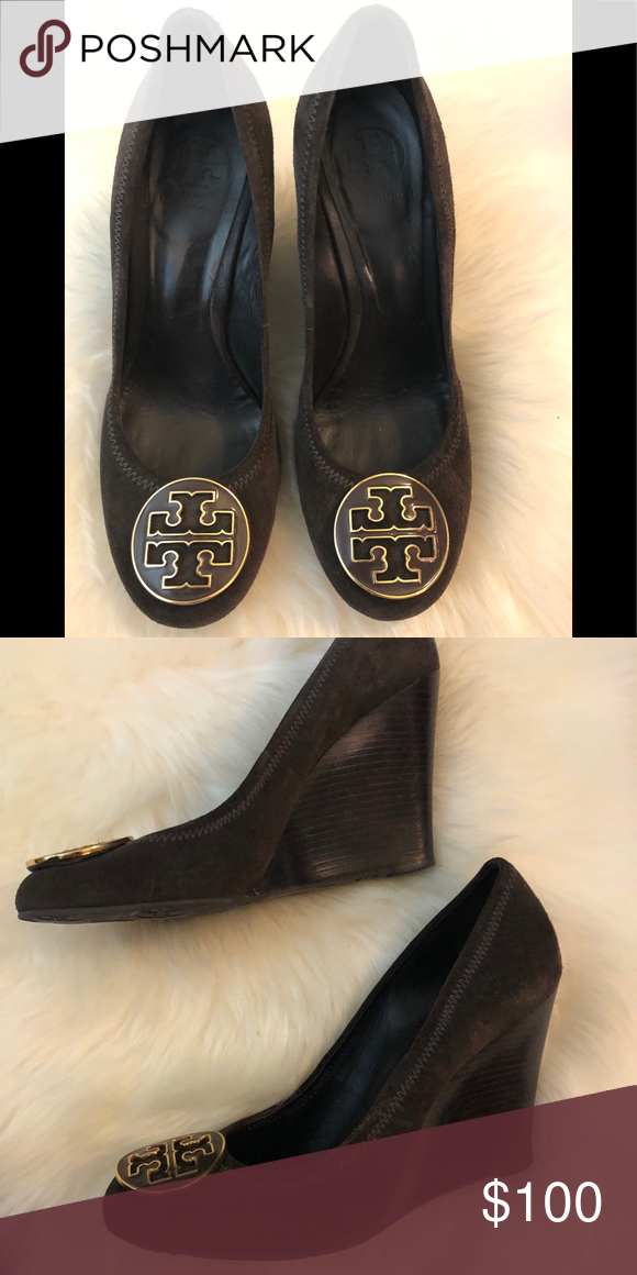 fca8e4651c3eac Tory Burch swede wedge Excellent condition. Size 8.5. Dark brown swede. Tory  Burch Shoes Wedges