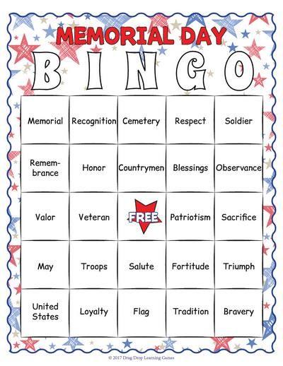 Memorial Day Bingo Game