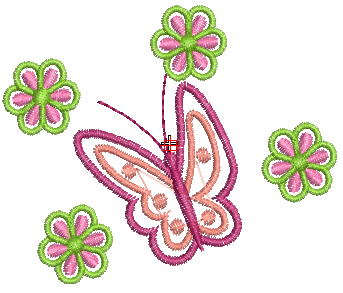 Bordados Descargar GratisHermosa Mariposa entre las Flores