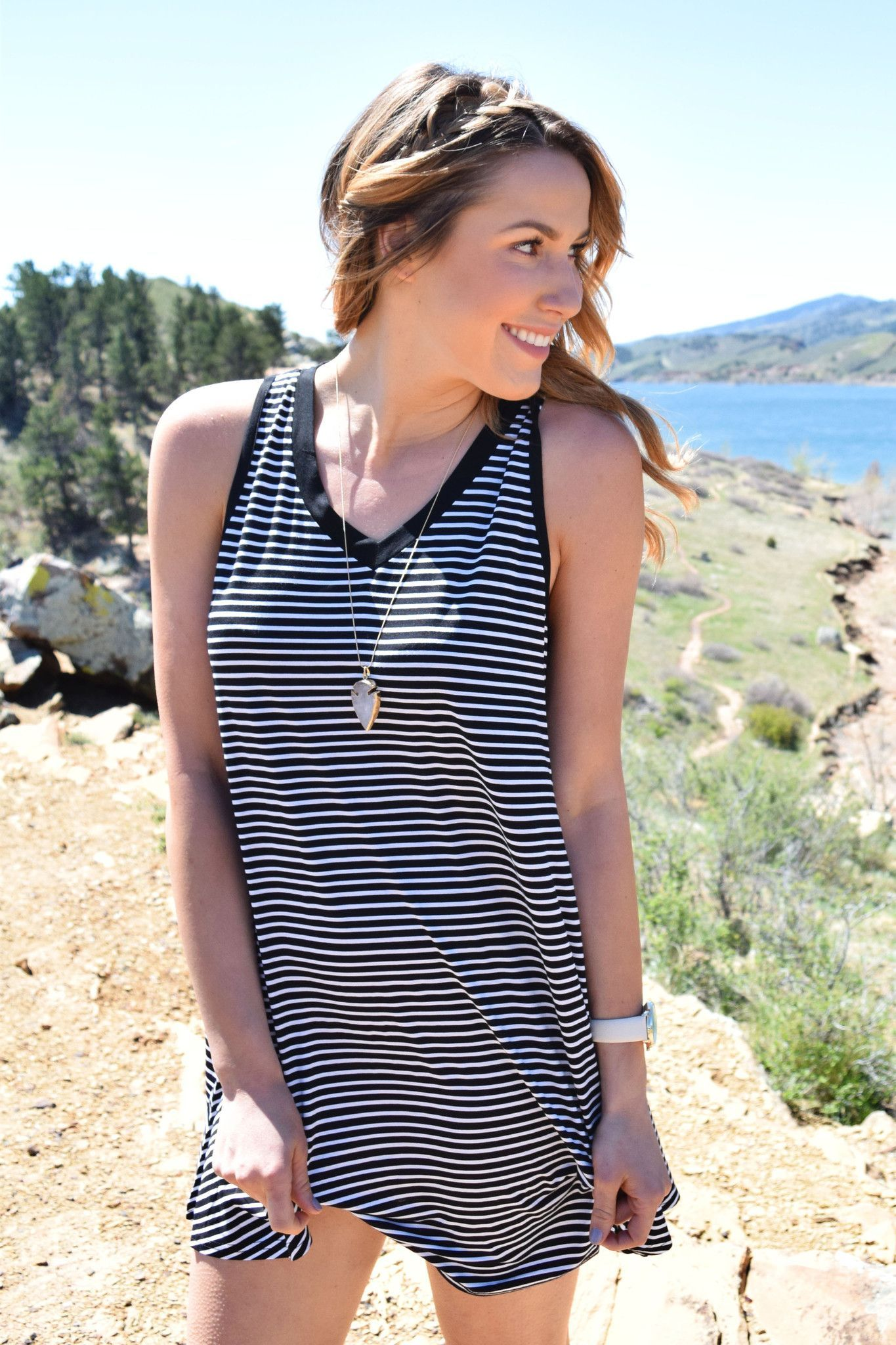 Mohave Striped Tunic Black