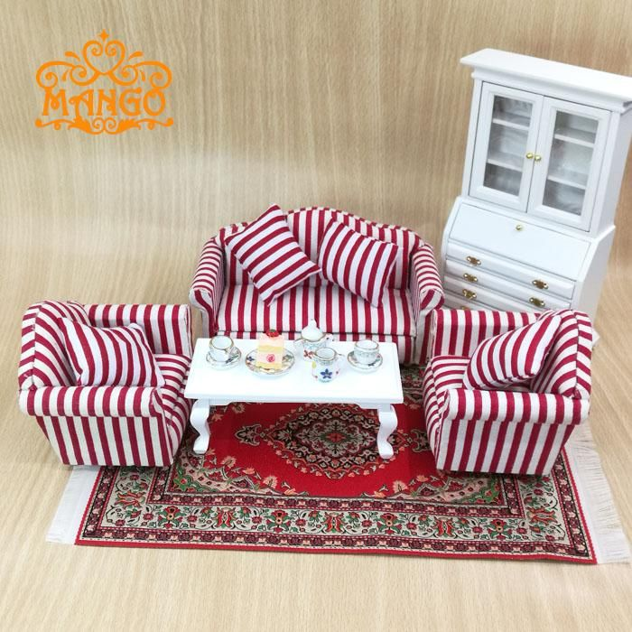 1:12 Dollhouse Miniature Living Room Furniture Pink Plaid ...