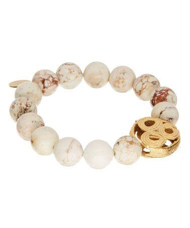 White Turquoise & Gold Beaded Bracelet