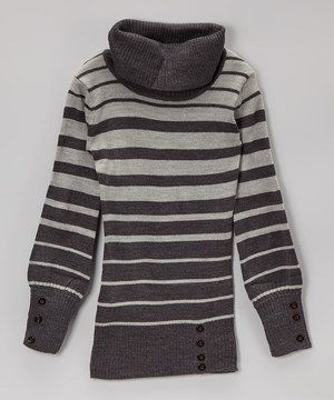 Another great find on #zulily! Charcoal & Heather Gray Stripe Cowl ...
